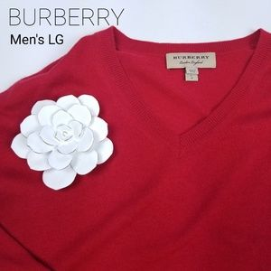 BURBERRY -Red Elbow Patch Cashmere Blend Sweater